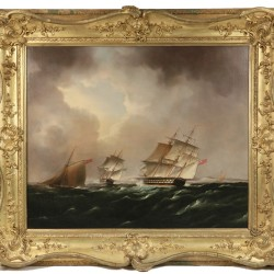 "Oil on canvas painting by Thomas Buttersworth (UKm 1768-1842), ""English Man-of-War Forming Up in the Straits of Dover"", one of many fine paintings to be sold at Thomaston Place Auction Galleries on November 18, 19 & 20"