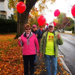 Jane Monhart and Barry Timms lead last years Rotary walk to End Polio Now.