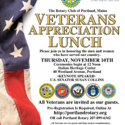 Rotary Club of Portland will host a Veterans Appreciation Lunch, the day before Veterans Day - Thur Nov 10th.