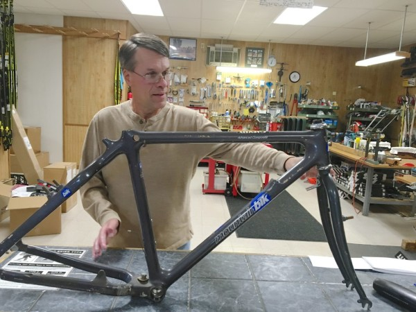 Lyn Michaud, owner of the Ski Shop in Van Buren, was a dealer for locally made Aegis Bicycles for years. The manufacturing company went out of business several years ago, but Michaud still has one of the original frames.