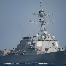 The Arleigh Burke-Class guided-missile destroyer USS Mason (DDG 87), launched in June 2001.