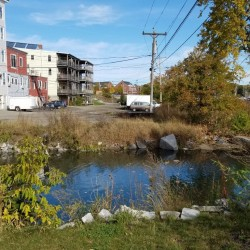 A footbridge will be erected within the next few weeks over the outlet of Lindsey Brook in downtown Rockland, connecting the southern section of the Rockland Harbor Trail with the northern section. Stephen Betts|BDN