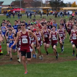 Orono runners surge to the front at the start of the Class C boys meet at the North cross country championships in Belfast on Oct. 24, 2015.