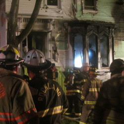 Rockland firefighters fought a blaze that destroyed a house at 29 James St.