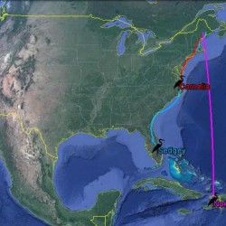 "A map showing the flight of great blue herons ""Cornelia,"" ""Nokomis,"" and ""Sedgey,"" all three of which spent their spring and summer in Maine, where they were tagged with GPS transmitters in June of 2016. The map shows their travels south for the winter."