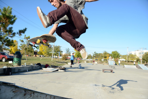 Tyler Lancaster of Bangor takes a jump at Bangor Skatepark on Friday. City officials plan to relocate and upgrade the park, but no location has yet been chosen.