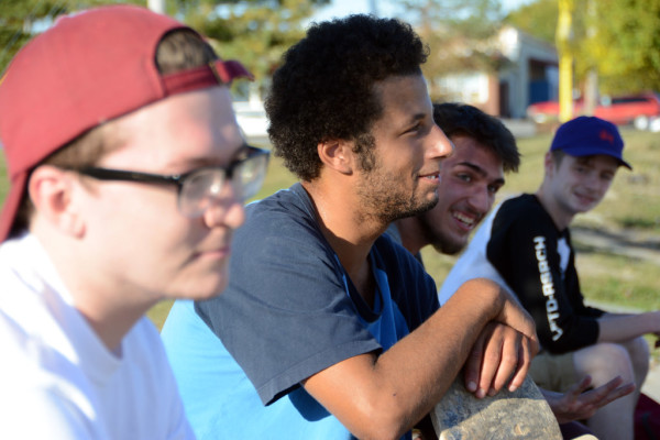 Bangor Skatepark users including 19-year-old Caleb Welch, Tyler Lancaster of Bangor [two in center] and 16-year-old Sheldon Schuhert [far right] take a break on Friday. City officials plan to relocate and upgrade the park, but no location has been chosen.