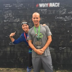 Brian Moussally of Hampden (right) poses for a photo with his girlfriend, Lori Perley, completing the Spartan Ultra Beast obstacle course race at Killington Mountain in Vermont last month. Moussally finished the event in slightly more than 13 hours.