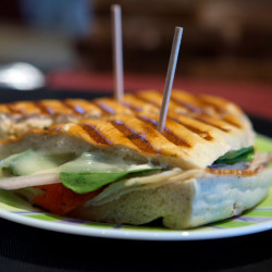 A fresh panini is seen at Verona Wine and Design in Bucksport on Wednesday. Mike and Colleen Gross opened the store and tapas restaurant in June.