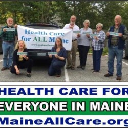 Maine AllCare Downeast Chapter members having a bumper sticker event in Blue Hill