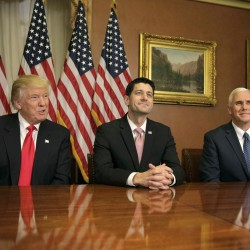 U.S. President-elect Donald Trump (L) meets with Speaker of the House Paul Ryan (R-WI) (C) and Vice-President elect Mike Pence on Capitol Hill in Washington, U.S., November 10, 2016.