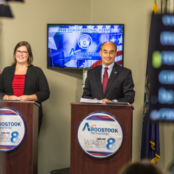 Republican Bruce Poliquin (right) and Democrat Emily Cain can be seen during opening statements in their 2016 congressional debate held Oct. 19 at WAGM Television Station in Presque Isle.