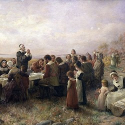 """The First Thanksgiving at Plymouth"" (1914) by Jennie Brownscombe."