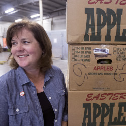 Melissa Huston, the director of philantropy for Northern Maine, stops at the Good Shepherd Food Bank Hampden warehouse in this August 2016 file photo.