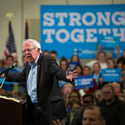 Vermont Sen. Bernie Sanders urges a crowd at the Cross Insurance Center in Bangor to vote for Hillary Clinton for president, Oct. 7, 2016. Sanders returned to Maine to campaign for Clinton on Tuesday, Nov. 1.