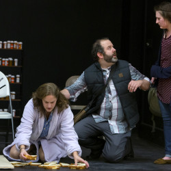 "Jason Wilkes (center), as Dan, looks to Nichole Sparlin (right), as Natalie, while running a scene with Christina Belknap, as Diana, during dress rehearsal of Some Theatre Company's upcoming production of ""Next to Normal"" at Keith Anderson Community Center in Orono Tuesday. The rock musical opens Nov. 4."