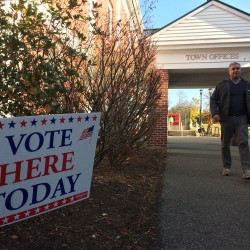 Orono resident Jeff Sanders went to the town office for early absentee voting on Wednesday in Orono.