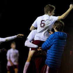 Bangor celebrates after defeating Camden Hills during their boys soccer regional championship game at Bangor Wednesday.