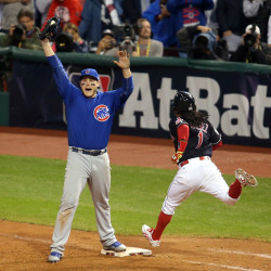 Chicago Cubs first baseman Anthony Rizzo (44) celebrates after defeating the Cleveland Indians in game seven of the 2016 World Series at Progressive Field.