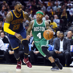 Boston Celtics guard Isaiah Thomas (4) drives to the basket on Cleveland Cavaliers forward LeBron James (23) during the second quarter at Quicken Loans Arena in Cleveland on Thursday  night. The Cavs won 128-122.