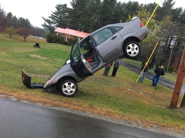 Teen driver backs up onto utility pole guy wire — Midcoast — Bangor ...