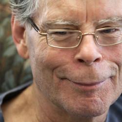 Stephen King talks with BDN's John Holyoke Thursday, October 2, 2014, at his office in Bangor.