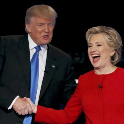 Republican U.S. presidential nominee Donald Trump (left) shakes hands with Democratic U.S. presidential nominee Hillary Clinton at the conclusion of their first presidential debate on Sept. 26 at Hofstra University in Hempstead, New York.