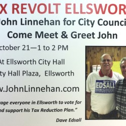 This mailer for Ellsworth City Council candidate John Linnehan, which includes a photo of Linnehan (right) standing next to House candidate David Edsall, has prompted a complaint to the state ethics commission from the Maine Democratic Party, which contends the flier and similar newspaper advertisements violate the Maine Clean Election Act.