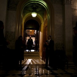 A lawmaker leaves the Senate Chamber at the U.S. Capitol in Washington, January 20, 2016.