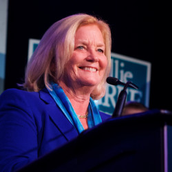 U.S. Rep. Chellie Pingree smiles from the stage in Portland in this November 2014 file photo.