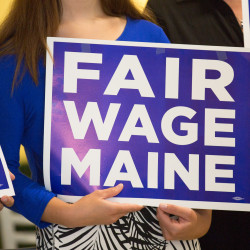 Business owners back the minimum wage referendum during a press conference at Fork and Spoon in Bangor in this June 2016 file photo.