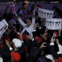 Supporters celebrate as returns come in for Republican U.S. presidential nominee Donald Trump during an election night rally in Manhattan, New York, Nov. 8, 2016.