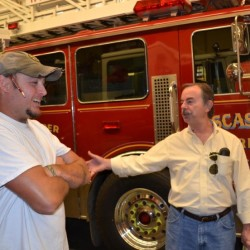Wiscasset Fire Chief T.J. Merry (left) and Selectman David Cherry tour the fire station in September.