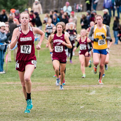 Kassidy Dill gets an early lead during the Class C Maine State Cross Country Championshops in Belfast.