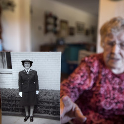 Nancy Tibbitts of Bangor served in the Navy during WWII. She helped to train pilots who flew from aircraft carriers.
