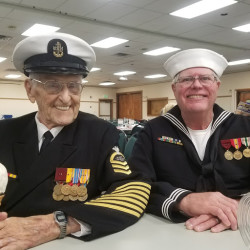 U.S. Navy veteran and Pearl Harbor survivor Robert Coles of Machias (left) will travel to Pearl Harbor in early December to attend the 75th anniversary commemoration of the attack. His friend and fellow Navy veteran Dennis Boyd of Cutler will accompany him.