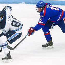 Blaine Byron of the University of Maine (left), pictured during a game in November 2015, registered a hat trick Friday night to lead the Black Bears to a 5-2 victory over UMass Lowell at Alfond Arena in Orono.