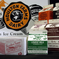 Some of the products Houlton Farms Dairy produces include butter and wide a variety of milks.