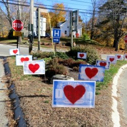 Campaign signs bearing hearts in the traffic island at the intersection of Academy Hill Road, Main Street and Mills Road in Newcastle, Nov. 10, 2016.