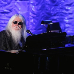Leon Russell performs during the Songwriters Hall of Fame awards in New York, June 16, 2011. Russell died Sunday at age 74, according to a statement from his wife posted on his website.