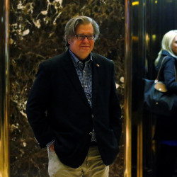 Campaign CEO Stephen Bannon departs the offices of Republican president-elect Donald Trump at Trump Tower in New York, New York, Nov. 11, 2016.