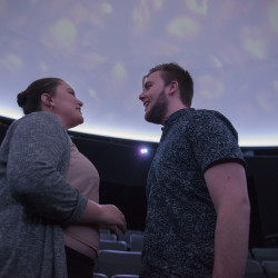 "Amelia Raphaela Courtney and John Dalton Logan rehearse a scene from ""Constellations"" at the M.F. Planetarium a the University of Maine. The play, being performed through Sunday, applies string theory to love."