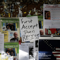 "A flyer that reads ""First Accept. Then Resist"" is seen on the UC Berkeley campus the day after the election of Republican Donald Trump as President of the United States in Berkeley, California, Nov. 9, 2016."