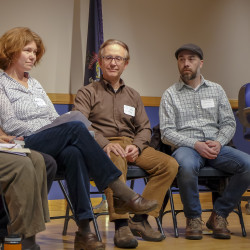 Some of the panelists who spoke on Thursday, Nov. 10 at the Slow Money Maine gathering in Belfast were (from left) Bonnie Rukin, the coordinator of Slow Money Maine; Dan Fireside of Equal Exchange; Marada Cook of Crown O'Maine Organic Cooperative; Francis Boero; Scott Cooper, the director of finance at Crown O'Maine; and Lynne Hoey of San Francisco-based RSF Social Finance.