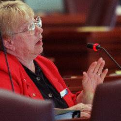 Patricia Blanchette speaks during a session in the State House in Augusta in May 2001.