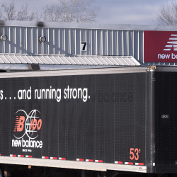 The New Balance manufacturing facility can be seen Thursday in Norridgewock.