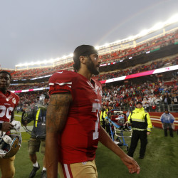 San Francisco 49ers starting quarterback Colin Kaepernick (7) leaves the field after the 49ers 30-17 loss to the New England Patriots on Sunday, Nov. 20, 2016, at Levi's Stadium in Santa Clara, California.