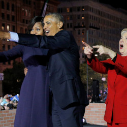 Hillary Clinton is joined by U.S. President Barack Obama and first lady Michelle Obama at a campaign rally on Independence Mall in Philadelphia, Pennsylvania, Nov. 7, 2016, the final day of campaigning before the election.