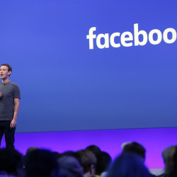 Mark Zuckerberg delivers the keynote speech at the Facebook's F8 Developers Conference, April 12, 2016, in San Francisco, California.