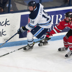 Cedric Lacroix of the University of Maine (left), pictured during a recent game against Rensselaer Polytechnic Institute, scored two goals on Saturday night to lead the Black Bears to a 5-1 victory over Brown at Cross Insurance Arena in Portland.
